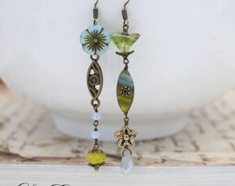 Green Asymmetrical Earrings Blue Floral earrings Garden earrings Rustic earrings mismatched earrings Woodland Earrings - Breezy
