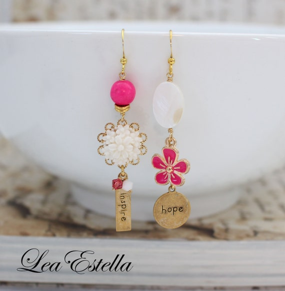 Inspirational Jewelry, Inspire Hope, Motivational earrings, Asymmetrical earrings, Hot Pink Floral Earrings, Mismatched - Inspire Hope