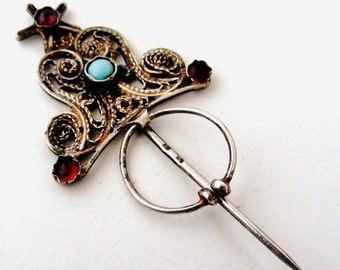 French antique silver filigree fibula shawl pin from Provence
