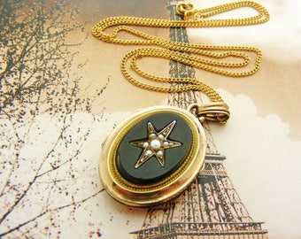 SOLD on layaway for MEG. Second instalment French antique locket with onyx and seed pearls