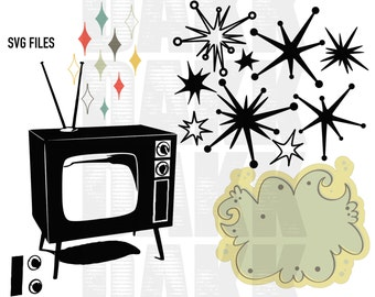 Retro/MidCentury TV, star burst and diamonds SVG and PNG Files