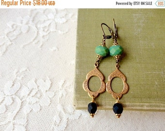 40% OFF CHRISTMAS SALE Boho chic scalloped brass dangle earrings accented with green and matte black glass beads, Water's Edge