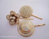 Vintage earrings hair grips - Snow milk chalky white gold trim floral art deco enamel honeycomb unique embellish decorative hair accessories