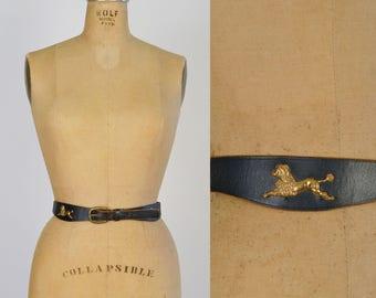 1950s Poodle Waist Belt / 50s Black Leather Belt