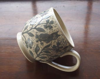 Round Cup, Handmade in Gray and White Stoneware with Lots of Hand Carved Flowers and an Owl