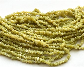Serpentine Chips, Green Serpentine Beads, Natural Serpentine Chips, Serpentine Necklace, 4-6mm, 32 Inch - GS3244