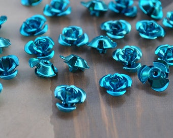 200 Blue aluminum roses, rose 8mm, flower aluminium, aluminum roses, flower beads, aluminum rose flower, aluminum cabochon rose beads