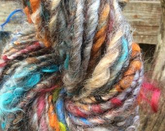 HANDSPUN Mixed Wool Thick and Thin Yarn with Firestar Locks
