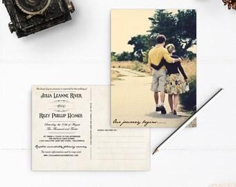 "Wedding Invitation Post Card, 5x7, Wedding invitation, the ""Julia"""
