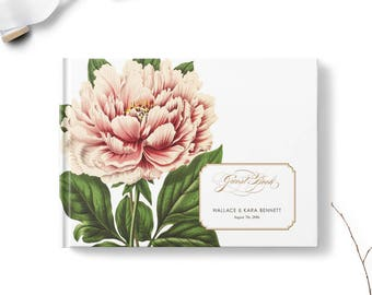 Floral wedding guest books, Landscape or Portrait, Wedding guest book, Botanical