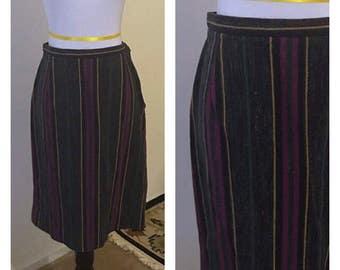 1960s striped skirt purple tweed