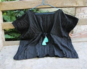 L-XL BLACK Loose Fit Cotton Blouse - Mint Green Tufts