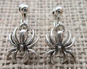 Spider Dangle Silver Clip On Earrings - Spiders Drops Cips Screws