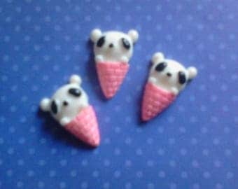 kawaii panda bear in a cone cabochons decoden deco diy charms   3 pcs---USA seller