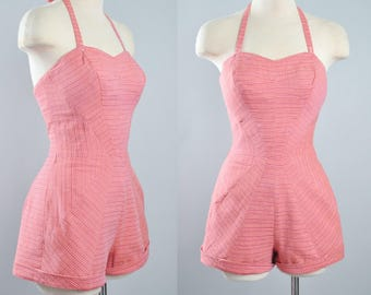 RESERVED 50s Carolyn Schnurer Playsuit Romper / 1950s Pink Cotton Striped Sunburst STRIPES Pinup Sunsuit Rockabilly Shorts Halter Top XS