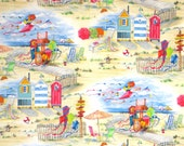 Fun and Colorful Beach Vista Print Pure Cotton Fabric--By the Yard