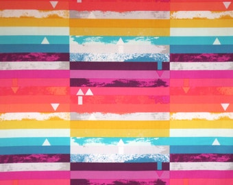Pink and Turquoise Sharp Geometric Steps Above Print Pure Cotton Fabric--By the Yard