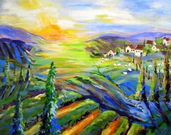 Sunrise Village Large Original Painting 30 x 40 fine art by Elaine Cory