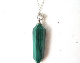 Malachite Hexagon Prism on Sterling Silver Necklace