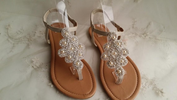 wedding shoes with pearls ivory wedding sandals with sparkling crystals and pearls 1141
