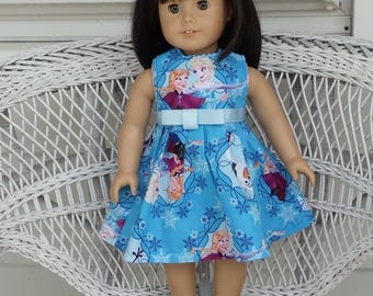 18 Inch Doll Clothes-Cute Princess Elsa Anna and Olaf Blue Dress-Handmade to Fit 18 Inch Dolls Like American Girl and Madame Alexander Dolls