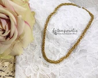 Chainmail necklace, no-tarnish brass, handmade, SACO04