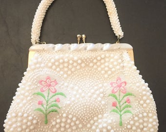 Vintge 1960s Woven Purse with Beading & Embroidery, Lucite Handle