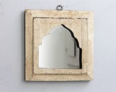 Moroccan Mirror Vintage Wood Framed Mirror Reclaimed White Distressed Wall Art