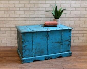 Antique Trunk Reclaimed Bright Blue Chest Keepsake Box Farm Chic Industrial Box Foot Locker Memory Box Moroccan Decor