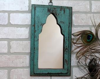 Mirror Reclaimed Vintage Indian Door Panel Wall Hanging Art Distressed Mirror Moroccan Decor Turkish Turquoise Green