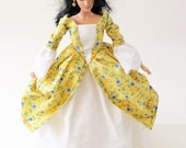 Historic Colonial Barbie dress:  Yellow Butterflies and Blue Flowers