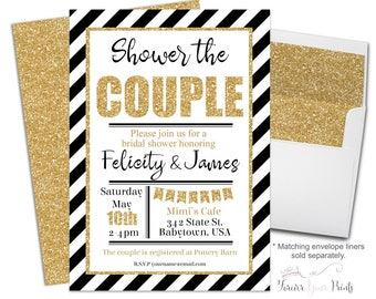 Couples Engagement Invitation, Bridal Shower Invitation, Black & White Bridal Shower Invite, Gold Glitter Invitation, Wedding Shower Invite
