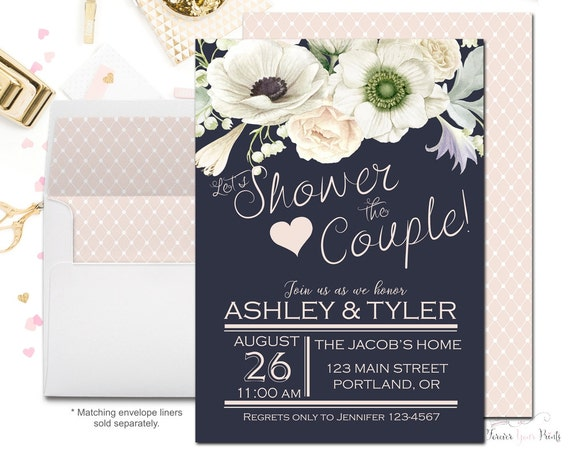 Wedding Shower Invitations For Couples: NAVY CREAM Bridal Shower Invitations Couples Bridal Shower