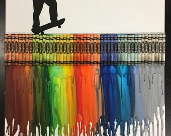 Skater Melted Crayon Painting