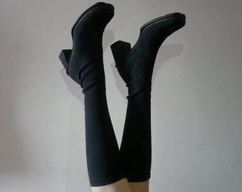 90s black nylon below the knee sock boots size 7.5