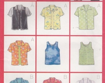 Shirt Pattern 9 styles Long Short Sleeve Camp Shirt Tank Top Uncut Misses Size 12 - 16 Butterick 5373