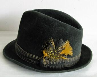 60s Green Mens Fedora Velvet Calhouns Handmade Vintage 1960s Mens Hats 7
