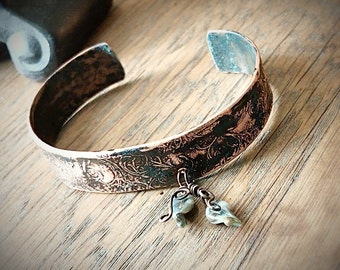 Copper Cuff Bracelet, Hand Forged, Etched and Hammered, Gray Lampwork Leaf Accents, Gift for Her, Graduation Present, Shabby Rustic Jewelry