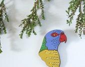 Rainbow Lorikeet Embroidered Birdie Wearable Art Brooch by Winnifreds Daughter