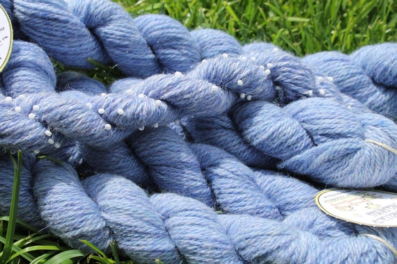 Light Blue Merino Yarn with Angelina and Pearl Yarns 5/50- 75 yards per skeins  Close Out Yarn-Made in the USA by Spinderellas Creations