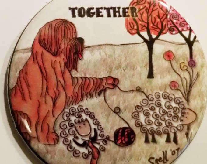 """Sheepdog Knit Together 2.25"""" Pin back or magnet"""