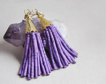 Purple Tassel Earrings, Purple Earrings, Tassel Earrings, Festival Earrings, Bohemian Earrings, Long Tassel Earrings, Summer Earrings, Boho