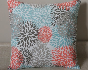 1 floral blooms blossoms pillow cover sham 14 x 14 coral gray teal taupe throw cushion Byram spring