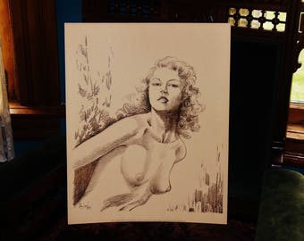 Original 1970 Nude Pin-Up Girl Print