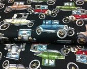 Cars Retro Black Cotton Fabric/Sewing Craft Supplies /Suiting Fabric /Antique Cars Print/Auto Print/