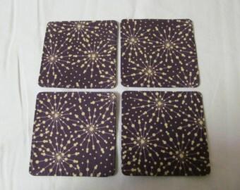 Set Of 4 Fabric Coasters/Beige Flowers On Purple