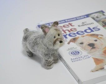 Miniature Schnauzer Felted - Custom Dog - Needle Felted Animal - Pet Portrait