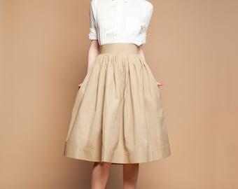 1950s skirt 50s skirt Full skirt Beige skirt Pleated skirt Tea Length Skirt Midi skirt Long skirt Plus size skirt Cotton skirt with pockets