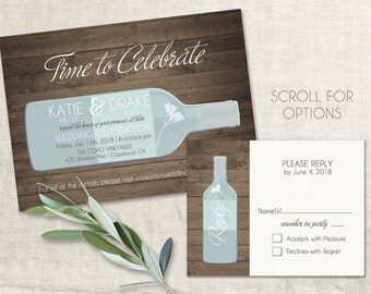 Wine Wedding Invitation DIY PRINTABLE Digital File or Print (extra) Vineyard Wedding Invitation Wine Invitation Vineyard Invitation Wood
