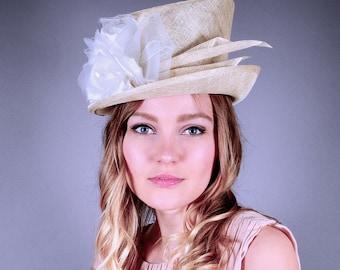 Off white straw top hat, Kentucky Derby hat, cream top hat